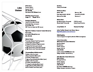 See Larger Sample  Soccer Player Resume
